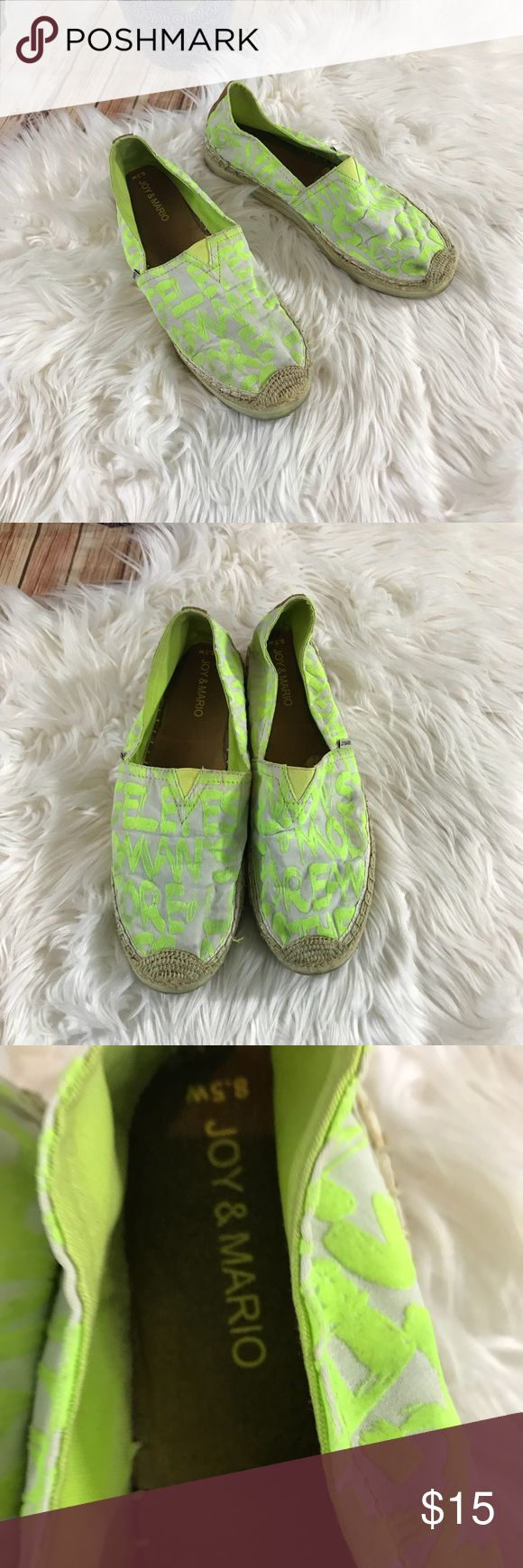 Joy and Mario neon green espadrilles Gently used condition. Size W 8.5 , neon green cotton mesh top ( toms like) and platform espadrilles . joy and mario Shoes Espadrilles