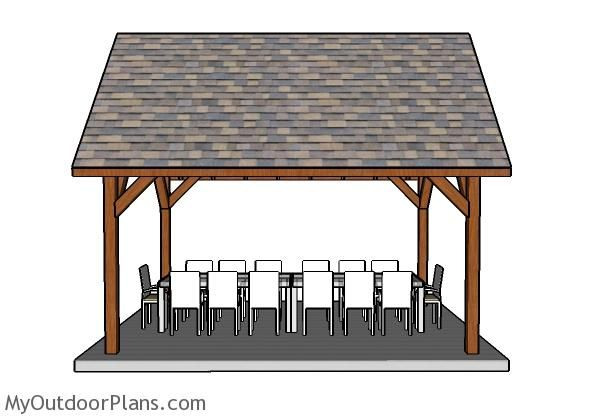 12x16 Pavilion Plans Myoutdoorplans Free Woodworking Plans And Projects Diy Shed Wooden Playhouse Pe In 2021 Pavilion Plans Pergola Ideas For Patio Gazebo Plans