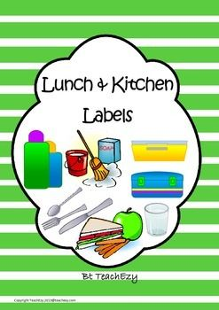 Labels School or Preschool: This assists everyone to know where everything is kept in the lunch and kitchen area. Just print, laminate and cut.