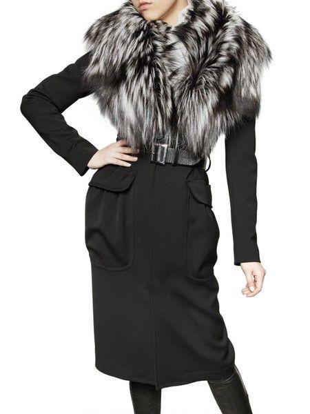 Silver Fox Collar Wool Stretch Coat - Lyst