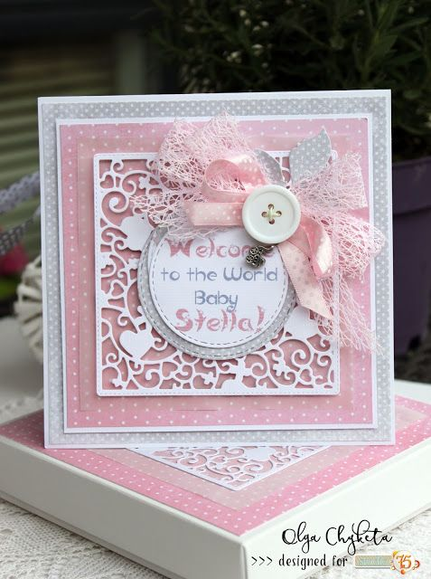 Handmade card for a baby girl made with Studio 75 paper collection Primo and Alice's Dreams