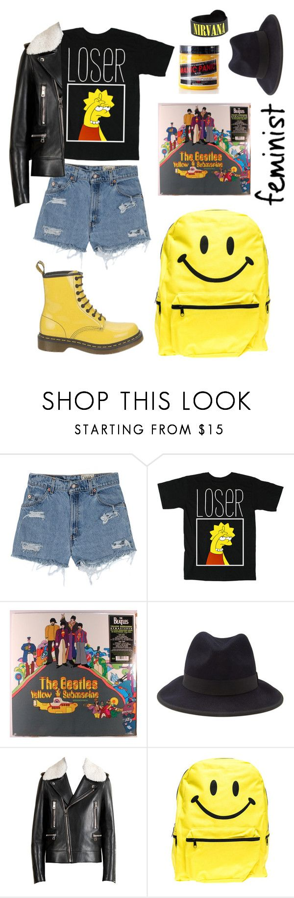 """Lisa Simpson shirt"" by ginaisanerd ❤ liked on Polyvore featuring Levi's, Submarine, Hot Topic, Forever 21, Gucci, Dr. Martens and Hollywood Mirror"