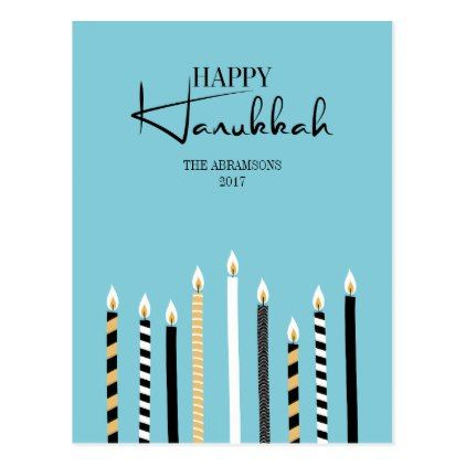 Modern Happy Hanukkah Candles Holiday Postcard - postcard post card postcards unique diy cyo customize personalize