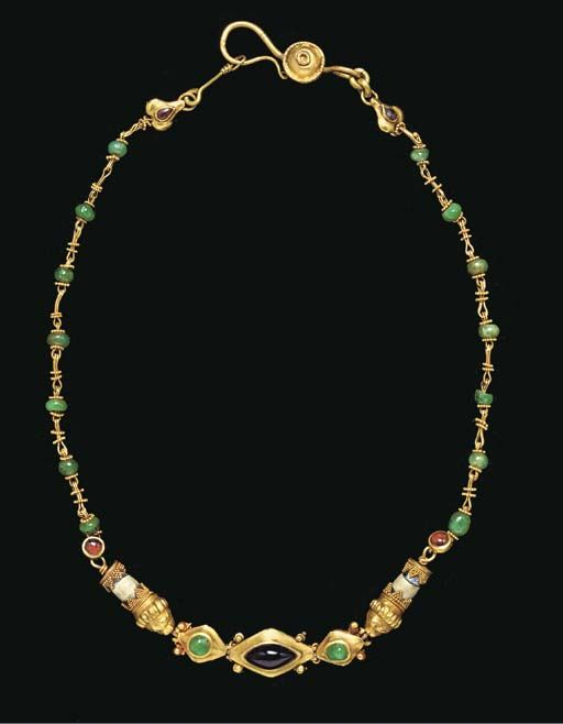 A GREEK GOLD, STONE AND GLASS NECKLACE  HELLENISTIC PERIOD, CIRCA 2ND-1ST CENTURY B.C. #AncientGreekNecklace #VonGiesbrechtJewels