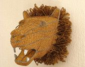 African Beaded Wire Animal Sculpture - LION HEAD