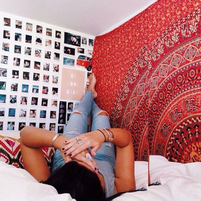 red tapestry + polaroids
