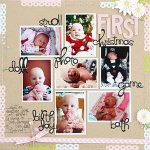 Celebrate a year of milestones in one quick multiphoto layout. Use a neutral background and white photo borders to keep the focus on colorful snapshots taken at different times. One-word labels for each photo make quick journaling.