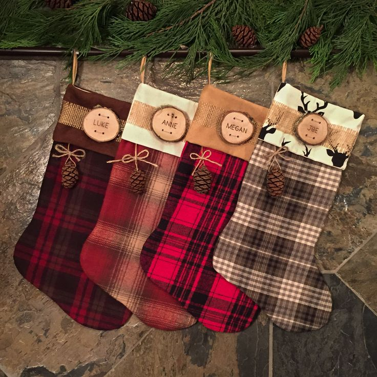 This assortment of flannel, Multicam, and pillow ticking stockings will bring a cozy outdoor feeling to your hearth this holiday season. Sewn with a sturdy lining and a leather loop for hanging. These are made to last! We will personalize for you by burning your name in a wood slice, compliments of Woodland Fever, our other Etsy shop.  Choose your fabric, cuff and whether you want the personalized wood slice and/or redwood cone. Customize by mixing and matching to your hearts content…