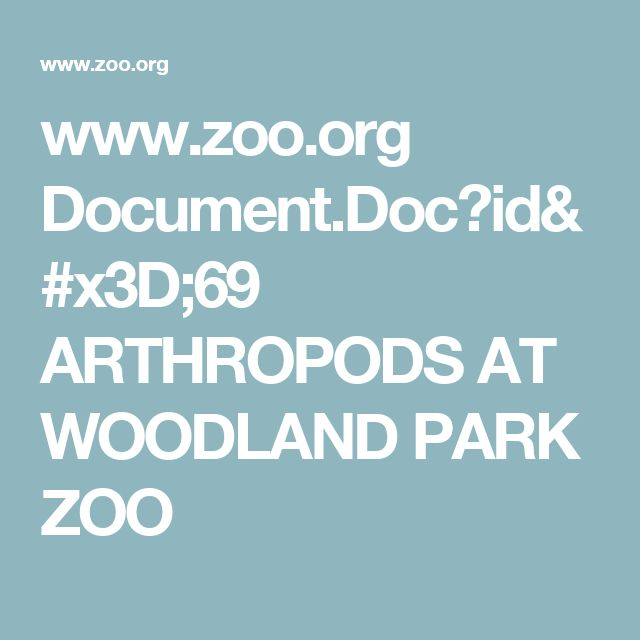 www.zoo.org Document.Doc?id=69  ARTHROPODS AT  WOODLAND PARK ZOO