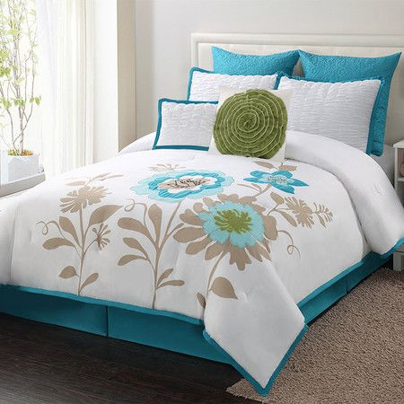 Eight-piece comforter set.  Product: 1 Comforter2 Euro shams2 Standard shams2 Accent pillows