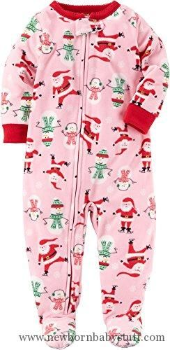 Baby Girl Clothes Carter s Girls  12M-14 Santa Fleece Pajamas Red 12 Months b1150803b