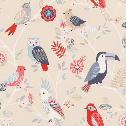 Papel pintado juvenil aves Rasch