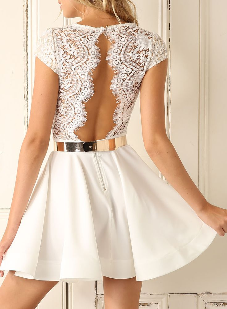White Cap Sleeve With Lace Dress 19.99