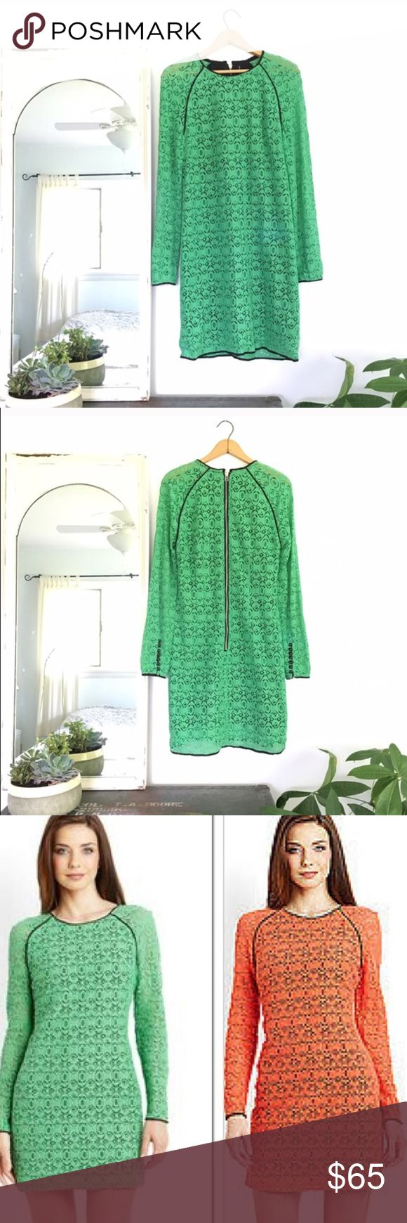 Walter Baker green long sleeve lace dress Beautiful lace dress back zip. Lined. Shell 70% cotton 30% nylon. Lining 100% polyester. Dry clean. Walter Baker Dresses Mini