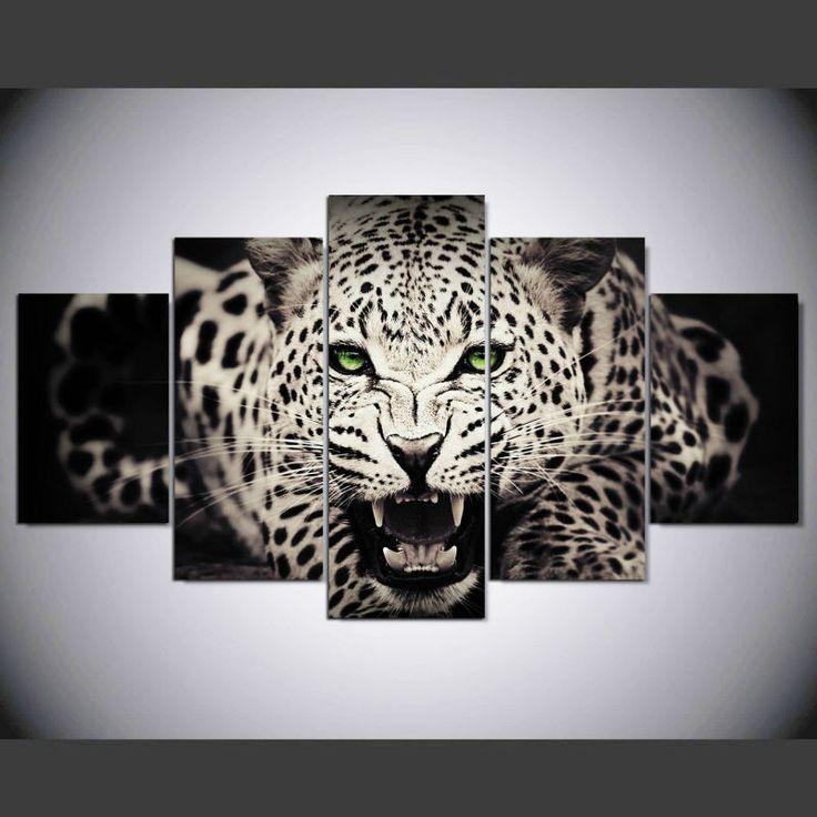 5 Panel Wall Art Leopard Wall Print