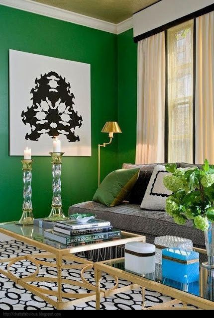 Gold coffee table and Emerald walls!