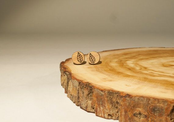 Little Leaf Small Stud Earrings Bamboo by BeamDesigns on Etsy