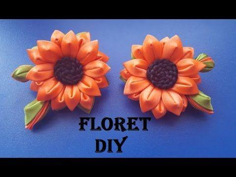 Подсолнух канзаши на Резиночке   FLORET DIY  Sunflower kanzashi on gum