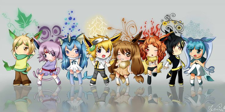 Eevee gijinka by mizuki shi on deviantart for cosplay plushie ideas pinterest pokemon - Pokemon famille pikachu ...