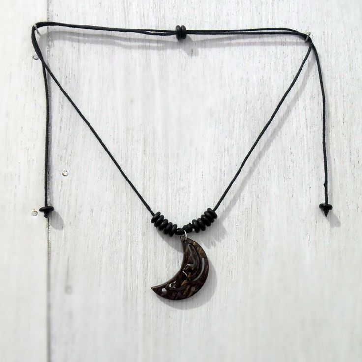 Handmade Necklace Half Moon Pendant Coconut Shell Crescent Moon Floral Handycraft K3 by RiKeCraft on Etsy