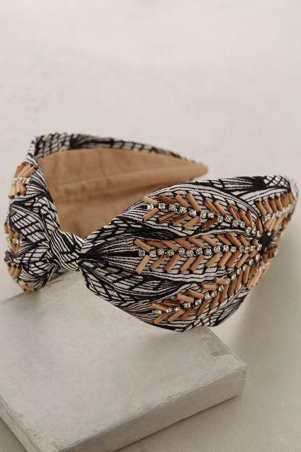 Wood-Stitched Turban Band - anthropologie.com