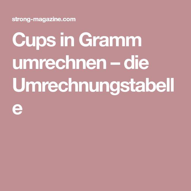Cups in Gramm umrechnen – die Umrechnungstabelle