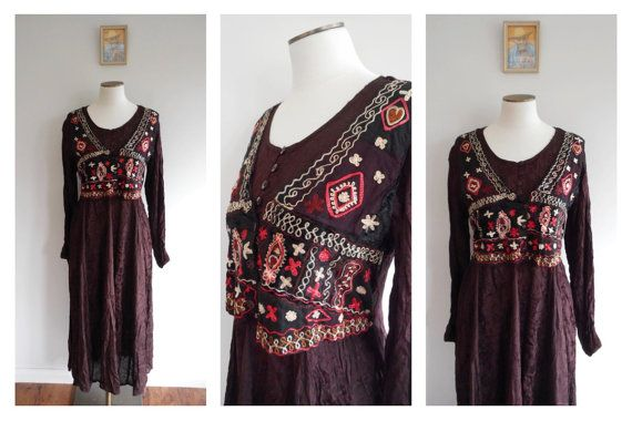 Vintage 90s BOHO Gypsy Dress // Hippie Hippy // ETHNIC India