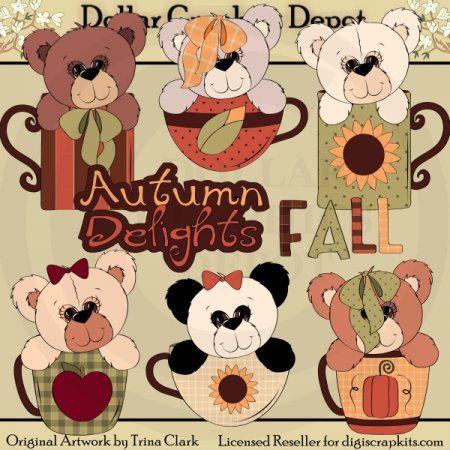 Autumn Bears and Cups - Clip Art