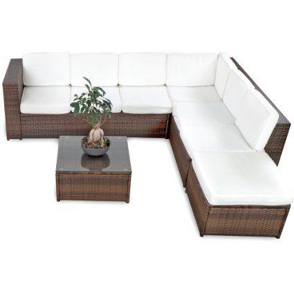 XINRO 19tlg XXXL Polyrattan Gartenmöbel Lounge Sofa günstig - Lounge Möbel Lounge Set Polyrattan Rattan Garnitur Sitzgruppe - In/Outdoor - handgeflochten - mit Kissen -…