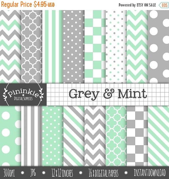 80% OFF SALE Mint Digital Paper Pack Grey Digital by Pininkie