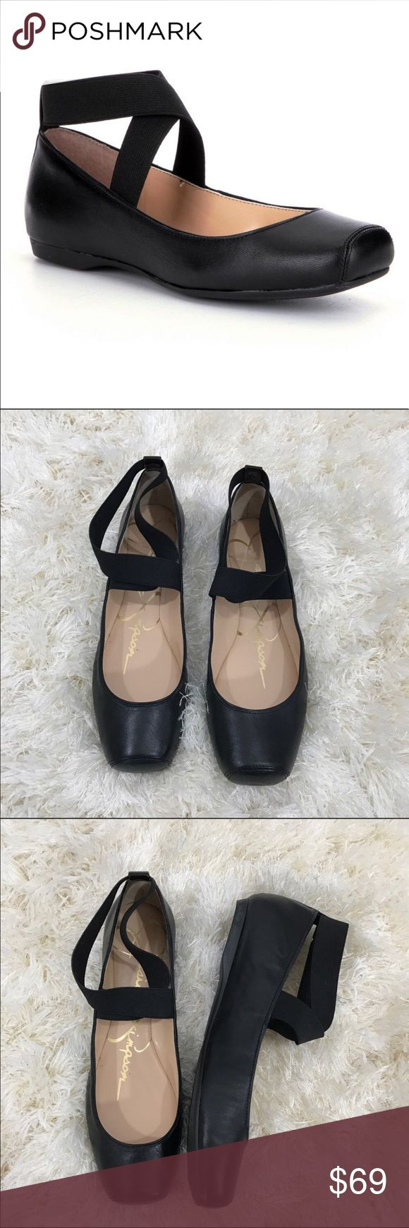 Jesica Simpson Strappy SquareToe Ballet Flat 10 From Jessica Simpson, the Mandalaye women's square-toe ballet flats feature.   Size 10, leather, elastic criss cross ankle straps  Rubber outsole 0.4 high New no box   ✅ will bundle ✅ No Trading  Poshmark rules only ‼️ Jessica Simpson Shoes Flats & Loafers