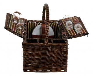 Piknikový koš vybavený pro 4 osoby, proutěný