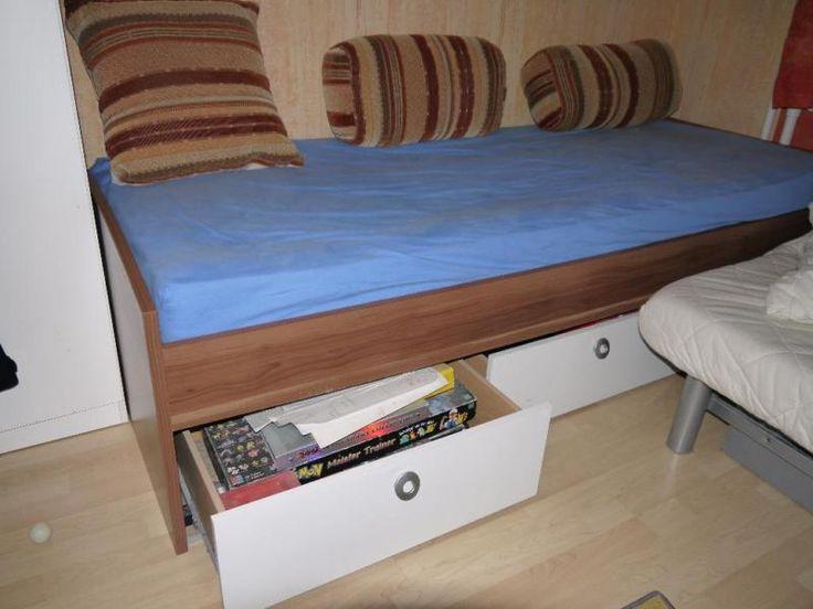 Jugendbett 90x200 cm mit Lattenrost (ohne Matratze) und Regalumbau (ergänzend oder auch ohne aufstellbar) mit drei ausziehbaren Schubladen und Schreibtischschrank