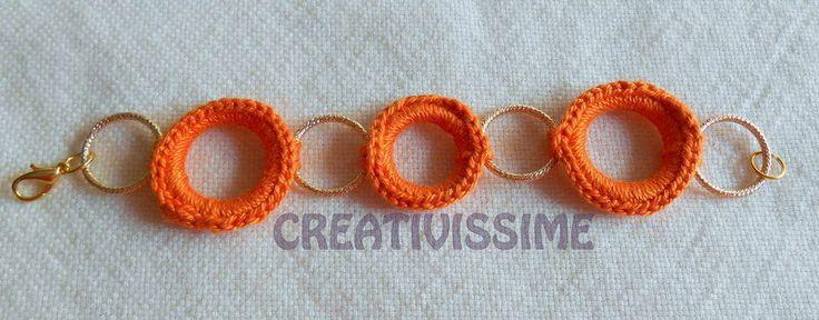 Braccialetti con cerchi all'uncinetto fatti a mano arancione, by CREATIVISSIME, 8,00 € su misshobby.com