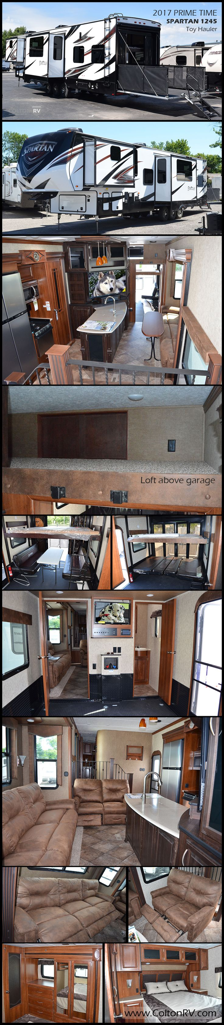 The PRIME TIME SPARTAN 1245 fifth wheel TOY HAULER makes it easy to load up your family, your off-road toys and start your next weekend adventure. With a large cargo area, a bath and a half, triple slides and a loft there is plenty of space for the whole gang!