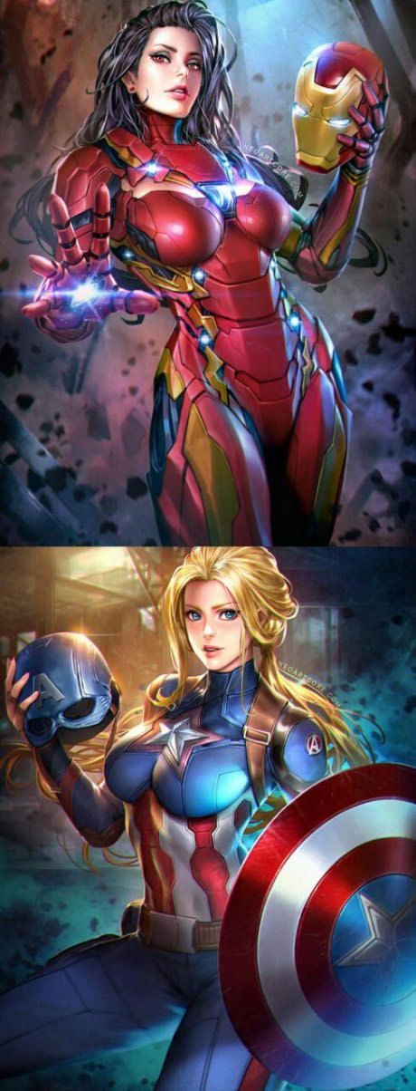 Captain America and Iron Man gender bend