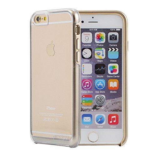 Prodigee View Case - хибриден кейс и покритие за дисплея за iPhone 6S, iPhone 6 (прозрачен със златиста рамка и златисти бутони) www.Sim.bg