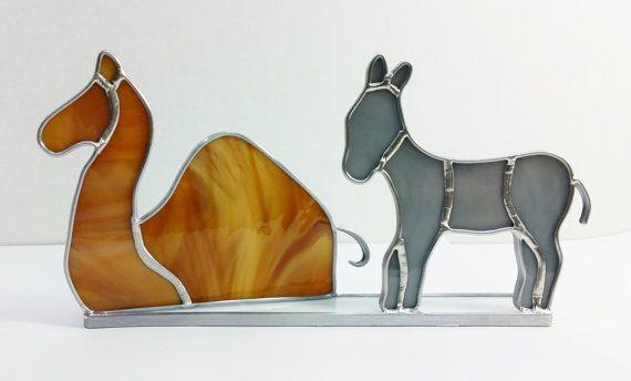 Pesebre de vidrio camello y burro por PowerGlassCreations en Etsy
