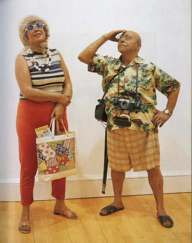 "Duane Hanson  ""Tourists"" 1970  Polyester resin and fiberglass, polychromed in oil, mixed media with accessories / Résine de polyester et fibre de verre polychromées à l'huile, technique mixte et accessoires  Lifesize / Echelle humaine  unique"