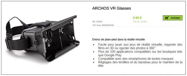 Lunettes réalité virtuelle ARCHOS VR Glasses à 9.99 € | Les dernières tendances Com & Pub