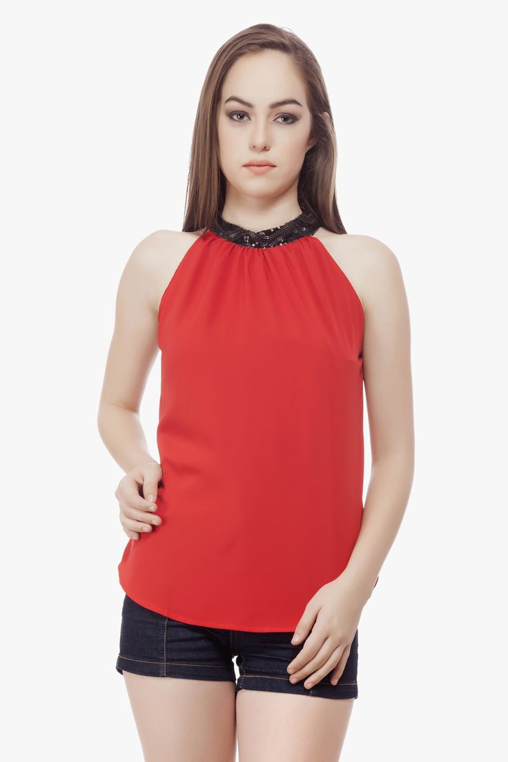 Halter Neck top with sequence at neck From Miss Queen.Shop Online