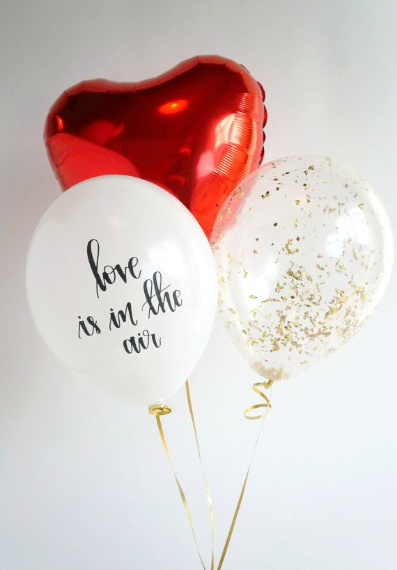 love is in the air Balloon Trio | Gold Confetti Balloon | Red Pink Gold Mylar Balloon | Calligraphy Balloon | FREE Shipping*
