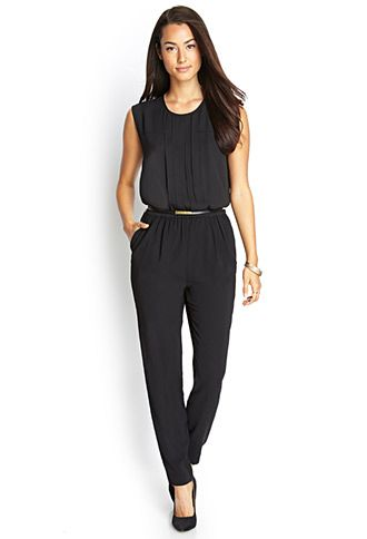 "Sleek Jumpsuit Love 21 - A woven jumpsuit featuring a faux leather belt. Round neckline. Pleated bodice. Sleeveless. Slit back. Elasticized waist. Medium weight. DETAILS: approx. length from bust to hem 50"", 39"" waist to hem, 29"" inseam, 13"" leg opening, 28"" waist, 33"" chest Measured from Small 100% polyester Dry clean Imported Model Info: Height: 5'10"" 