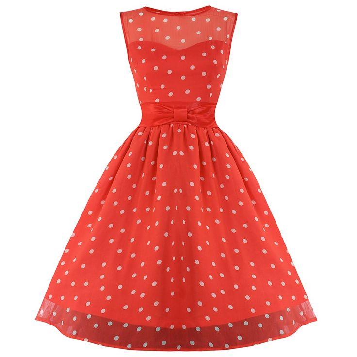 Candy Coral Polka Dot Swing Dress   Vintage Style Dresses - Lindy Bop