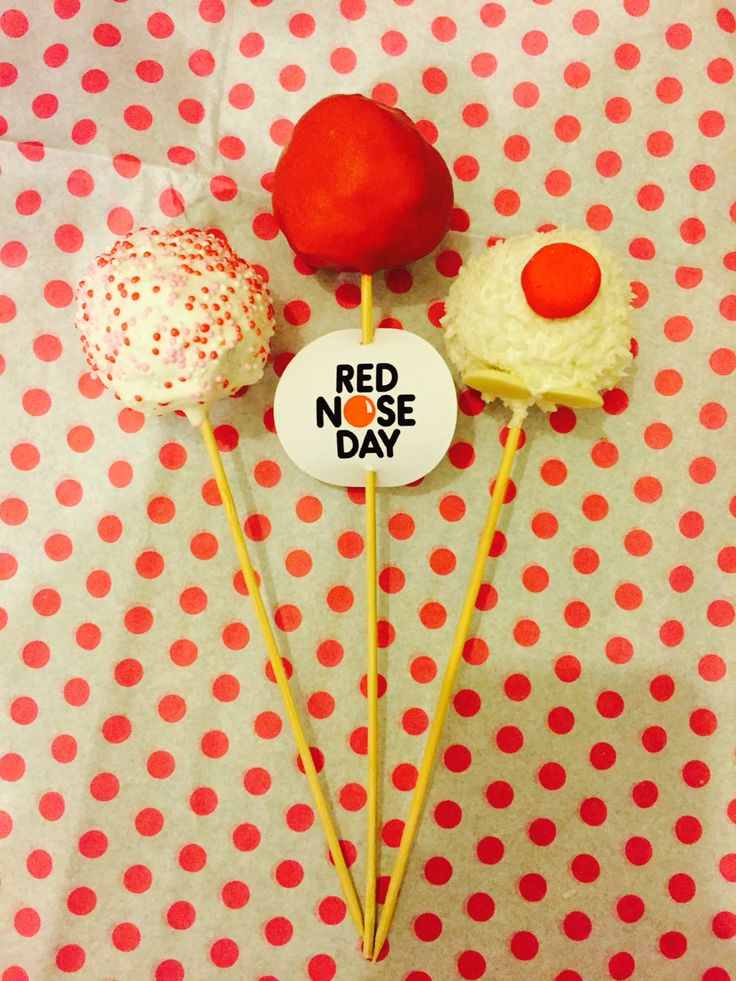 Red Nose Day cake pops