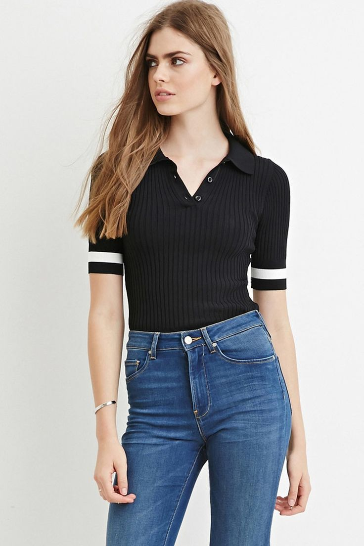 [LOV]リブニットポロシャツ