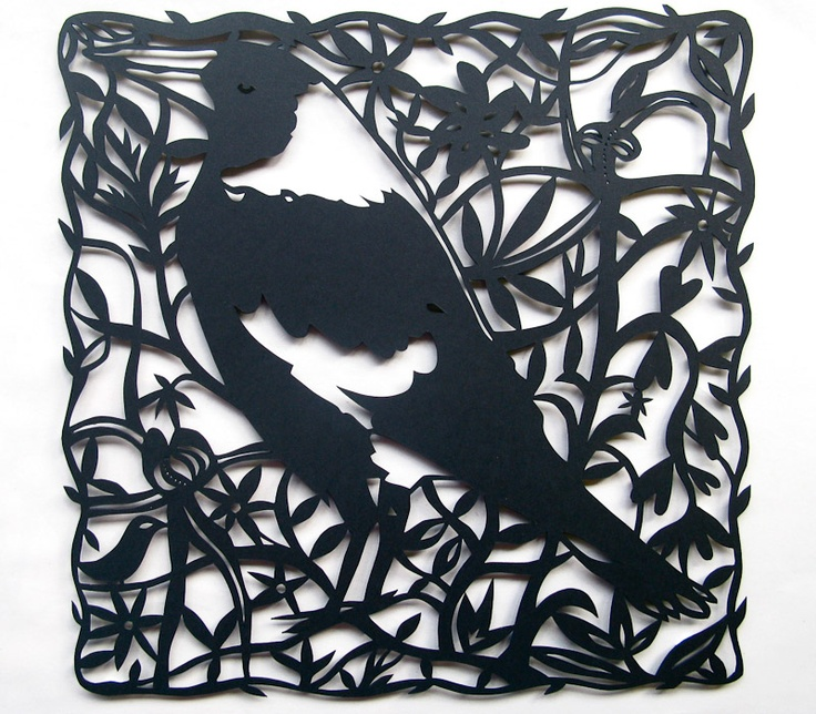 Magpie With Wildflowers paper cut art