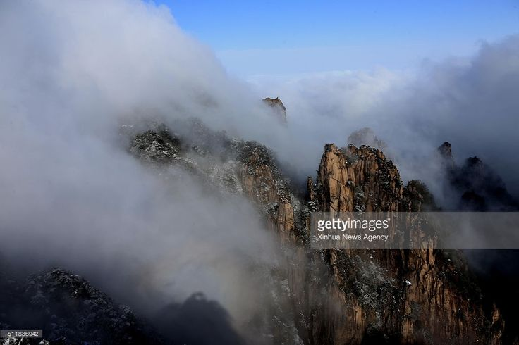 Photo taken on Feb. 23, 2016 shows scenery of the sea of clouds at Mountain Huangshan scenic area in Huangshan City, east China's Anhui Province.