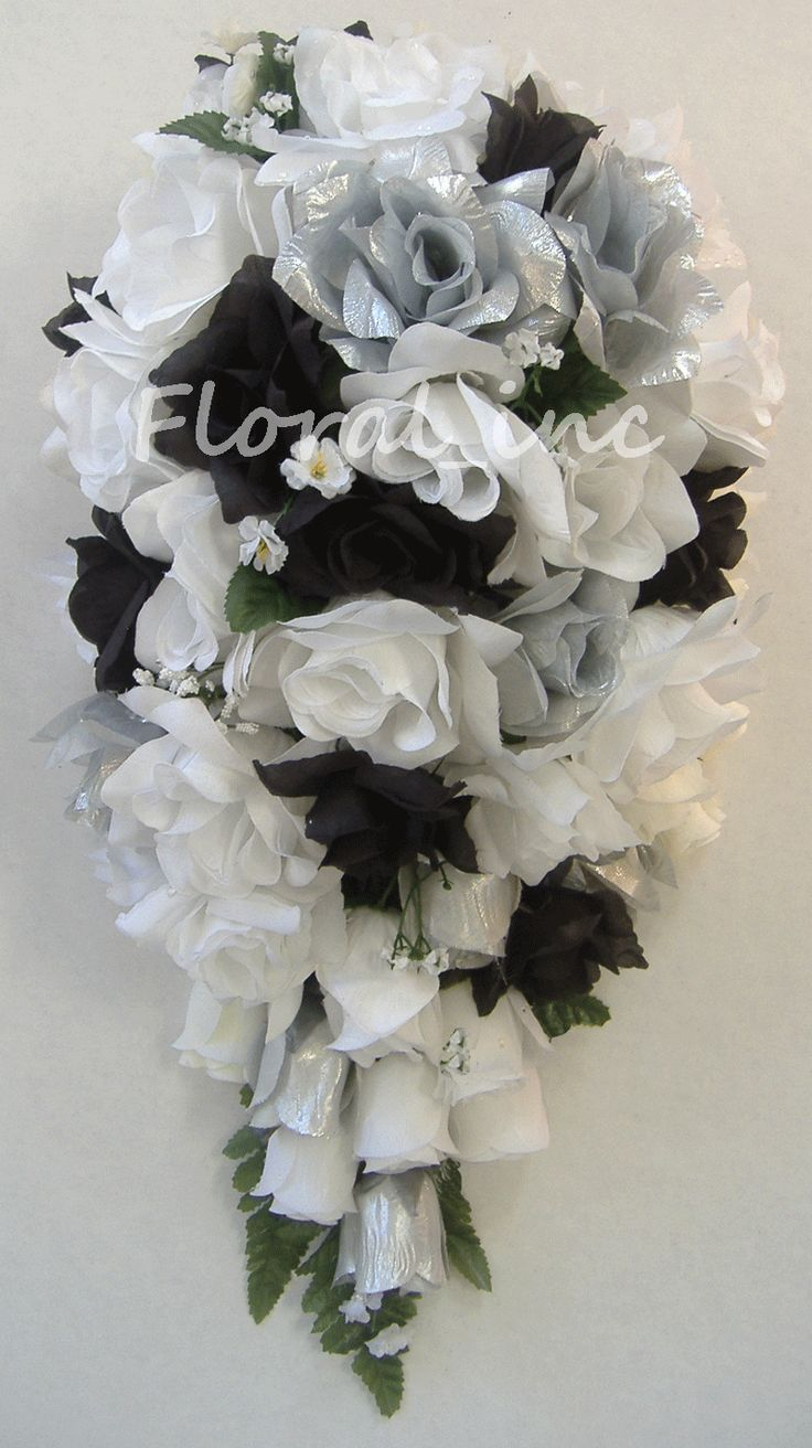 purple silver and black rose cascade wedding bouquets