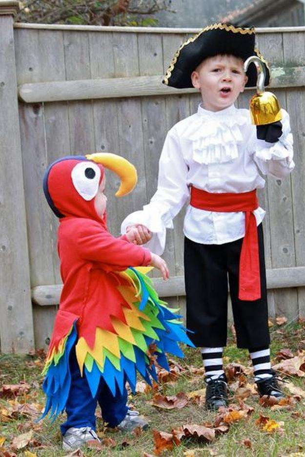 Cute DIY Pirate and Parrot Costumes | 25 DIY Pirate Costume Ideas, check it out at http://diyready.com/25-argh-tastic-diy-pirate-costume-ideas